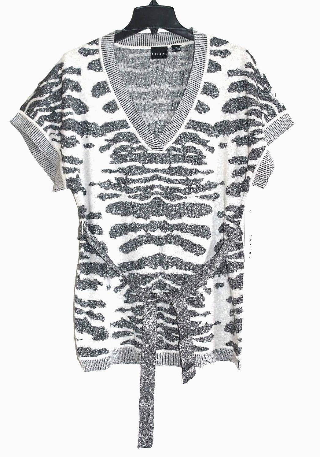 Tribal - Damen M - Nwt - - - Grau Silber Grau Tiermuster mit Gürtel Tunika Pullover | Erschwinglich  f409f8