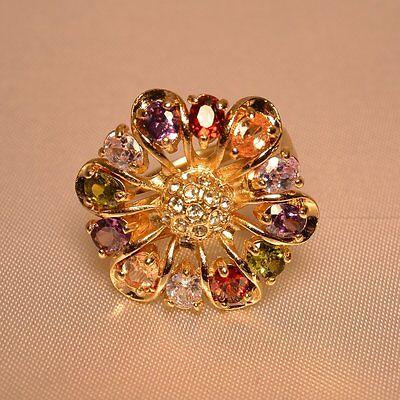 Dolly-Bijoux Fantaisie Très Grosse Bague T58 Fleur Multicolore de 35mm