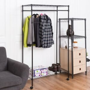 Details about Home Bedroom Double Hanging Rolling Adjustable Rod Portable  Garment Rack US