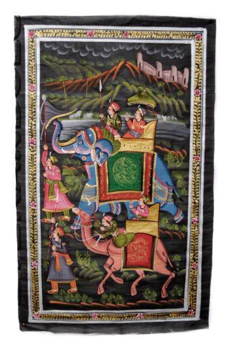 Tenture Murale Peinture Moghole sur Soie Art Scene de vie Inde 75x47cm 35