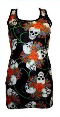 Ladies Gothic Enchanting Skulls Rose Tattoo Print Long Vest Tank Top Punk Emo