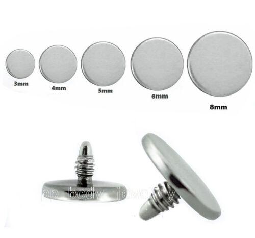 5mm 6mm 8mm Steel Internally Threded Flat Disc Dermal Anchor Top 14G~3mm 4mm