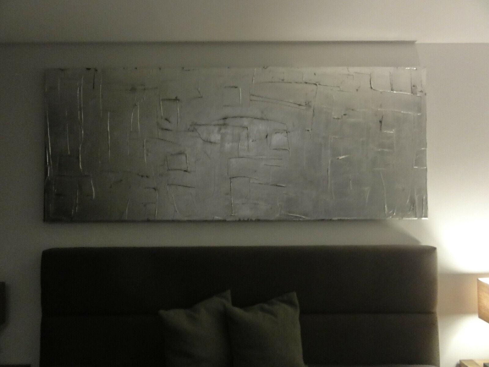 Acrylbild leinwand schwarz silber modern abstrakt unikat handgemalt 200x80