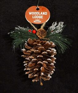 Large-Real-Flocked-Pinecone-Christmas-Ornament-w-Pine-Branch-NWT