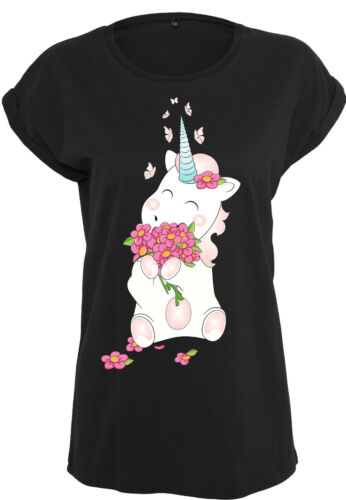 Ladies Extended Shoulder Tee Damenshirt Shirt Unicorn Einhorn cutie Flower