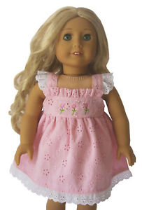 """Embroidered Pink Flower Dress  Fits 18/"""" American Girl  Dolls"""