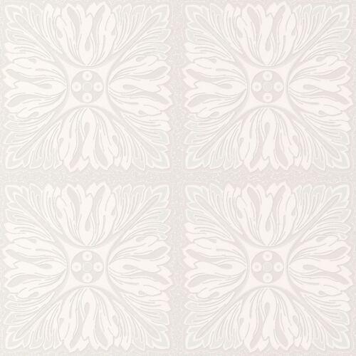 Paillettes Blanc Floral Carré Motif Texturé Papier Peint-J85700