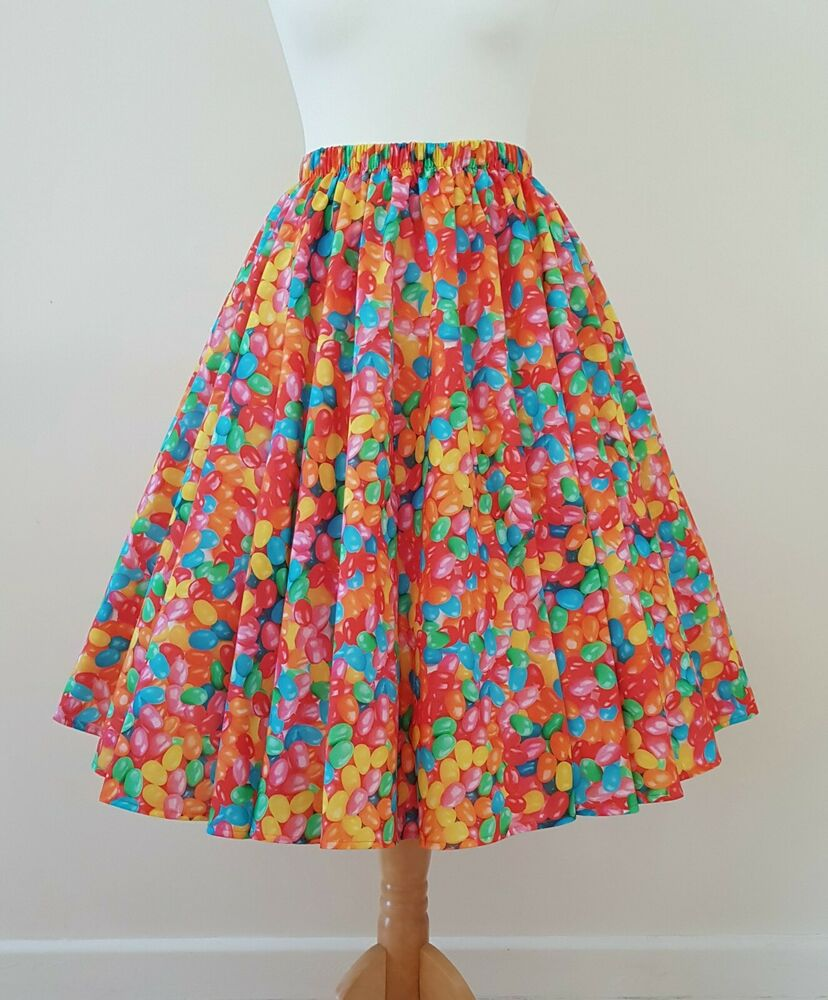 1950 S Cercle Jupe Jelly Bean Party-toutes Tailles-rainbow Bonbons Fun Rockabilly