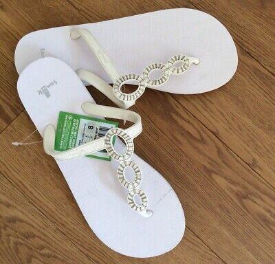 Sanuk Ellipses White Ladies Flip Flop New Size 7 Uk