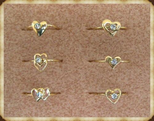 2714//36-GF AUSTRIAN CRYSTAL on HEART MOTIF PACK of 36 GOLD FILLED RINGS
