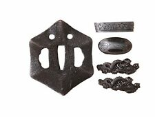 Samurai Sword Fittings Japanese Katana Iron Tsuba Fuchi Kashira Menuki Ornaments