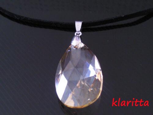Amazing Shine Big 28 mm Gold Shadow Teardrop Crystal Pendant Necklace N19
