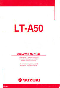 Details about 2003 Suzuki LT-A50 Owner's Manual - High Res PDF DOWNLOAD