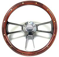 Chevelle Steering Wheel Real Wood & Brass Rivets Billet & Bowtie Horn Button