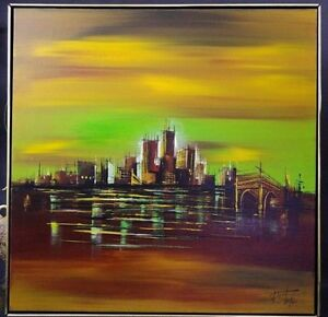 VTG-1960s-MID-Century-R-STYLES-New-York-NYC-Skyline-w-Bridge-Canvas-Oil-Painting