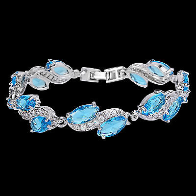 Bridal Marquise Light Blue Zircon Tennis Bracelet Chain Silver Tone E113