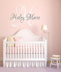 Personalized Name Initial Vinyl Wall Decal Girls Nursery