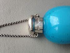 Antique SAMPSON MORDAN Silver Glass ROBIN'S EGG BLUE Scent Bottle