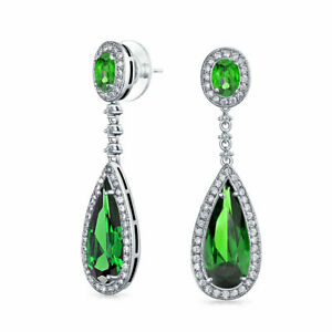 Green-Teardrop-Dangle-Chandelier-Earrings-Simulated-Emerald-Silver-Plated-Brass