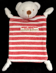 Doudou Ours blanc rayé rouge ORIGINAL MARINES Merry Christmas And Happy New Year