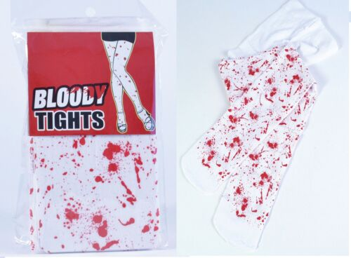 White Blood Stained Zombie Halloween Stripey Holds Up Stockings /& stained Tights