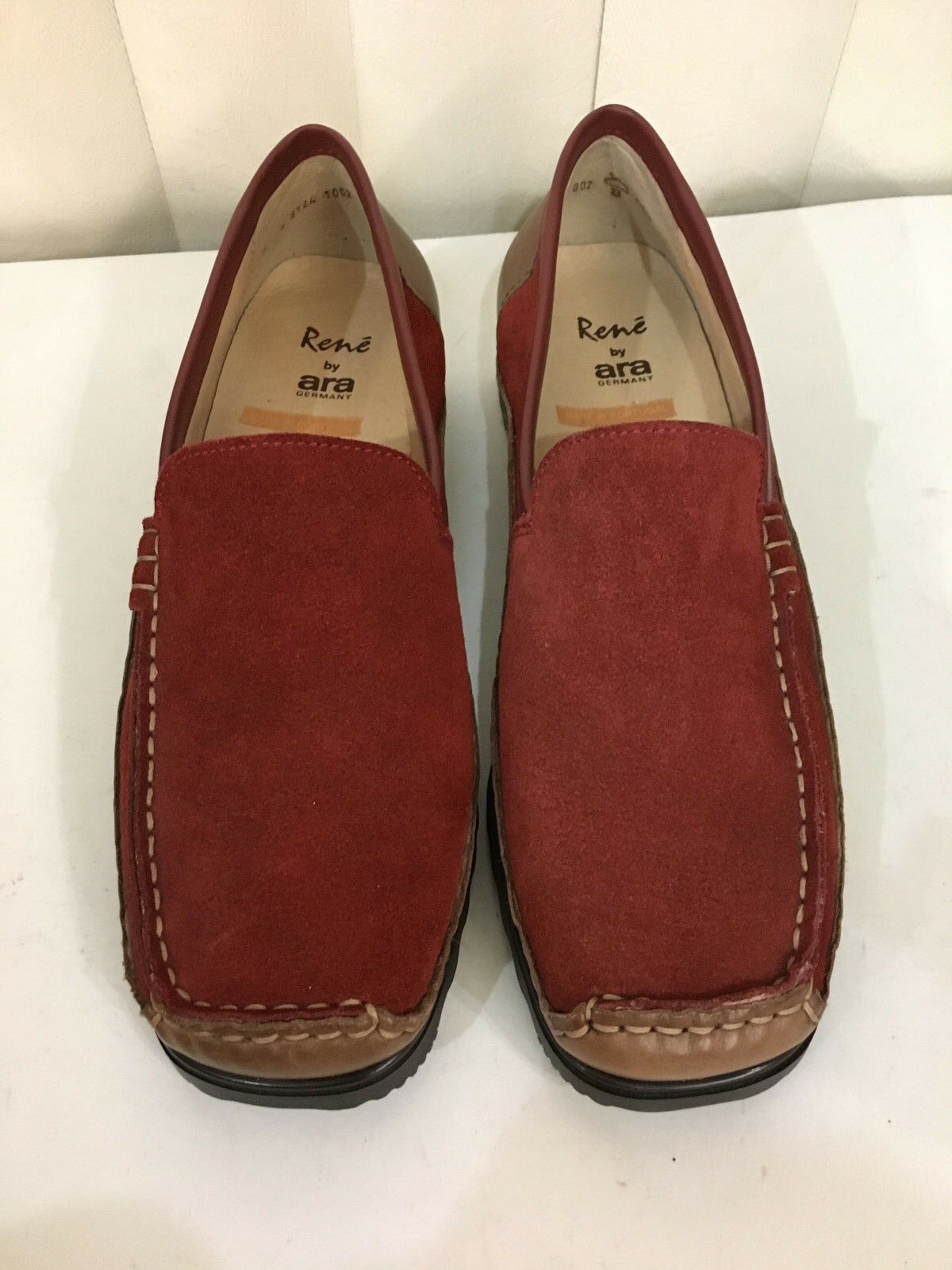 Rene By ARA marron rouge rouge rouge Suede Knitted Loafers Slip On Moccasins 6.5  7.0 Medium 06d64f