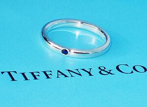 62968366f Tiffany & Co Elsa Peretti Sterling Silver Blue Sapphire Band Ring | eBay
