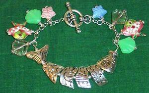 GONE-FISHIN-039-Beach-theme-Silver-tone-Charm-Bracelet