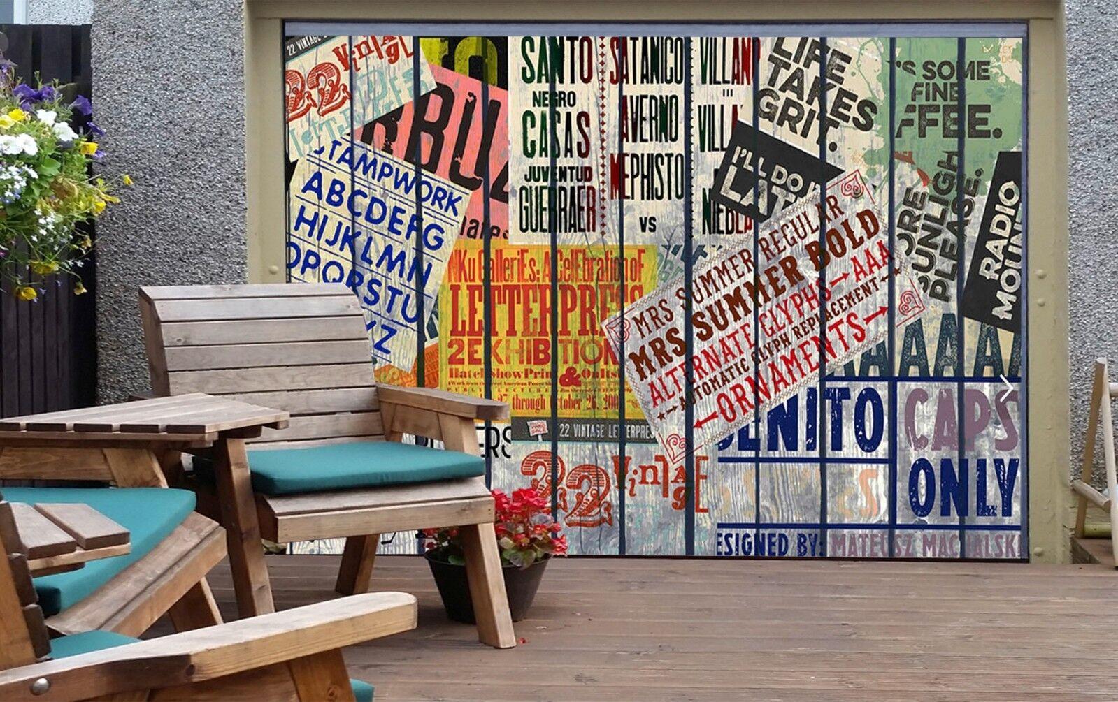 3D Many letters 33 Garage Door Murals Wall Print Decal Wall Deco AJ WALLPAPER UK