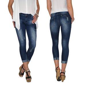 Damen-Stretch-High-Waist-7-8-Skinny-3-4-Capri-Roehren-Jeans-Hose-Ubergroesse-E86