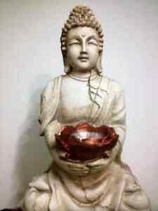Large Buddha Solar Statue Light Warm White Led - New