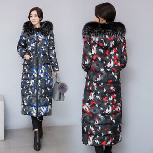 New Womens Duck Down Jacket Floral Coat Long-length Parka Faux Fur ...