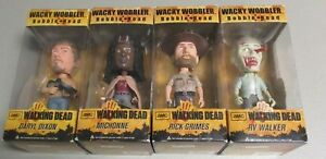 Walking-Dead-Wacky-Wobblers-Bobble-Heads-Lot-Daryl-Dixon-Michonne-Rick-Grimes