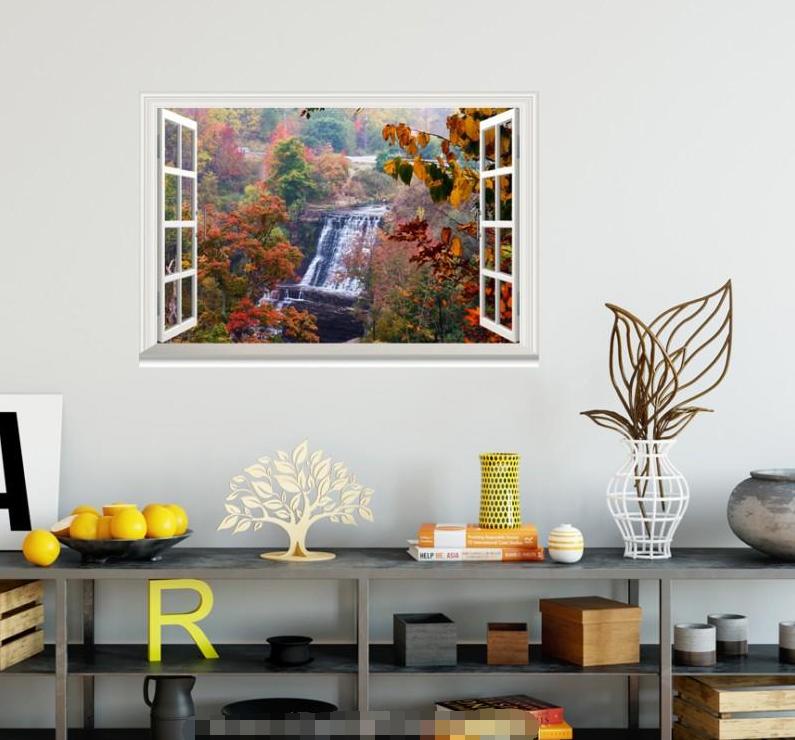 3D Waterfall Maple Leaf 1225 Open Windows WallPaper Murals Wall Print AJ Jenny