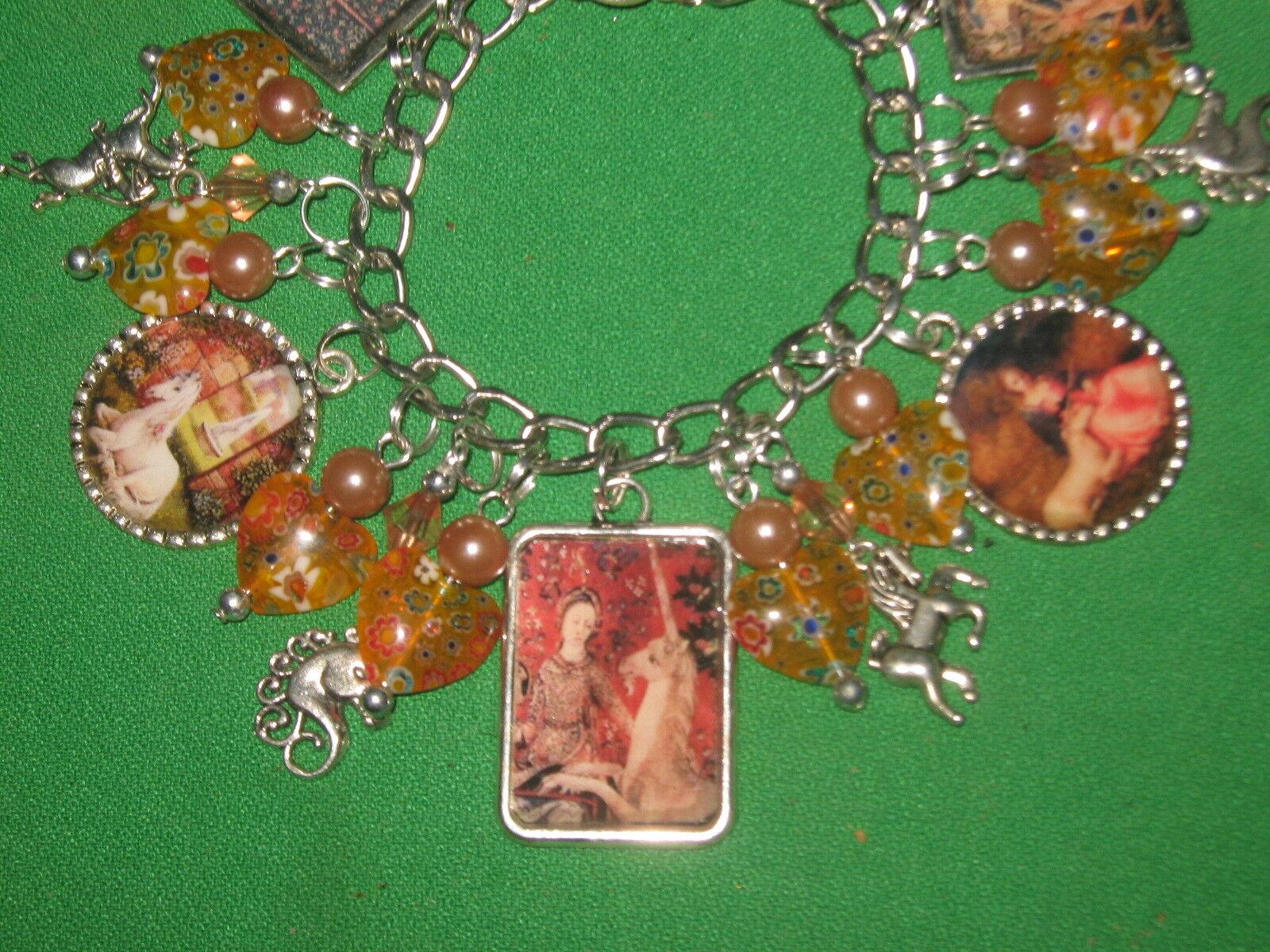 Old World Unicorns- Altered Art Charm Bracelet