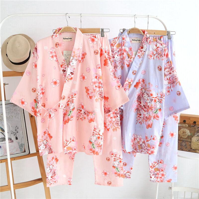 Expressif Chinois Japonais Chats & Blossom Femmes Kimono Pyjama Ensemble Ladpj124125 Haute Qualité