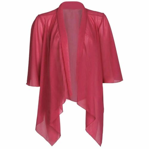 New Womens Plain Open Front Chiffon Mesh Kimono Waterfall Cardigan Shrug Top