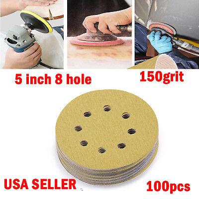 5in 125mm 8 hole Sandpaper Sanding Disc Rotary Hook Loop Sander 120 Grit 100pcs