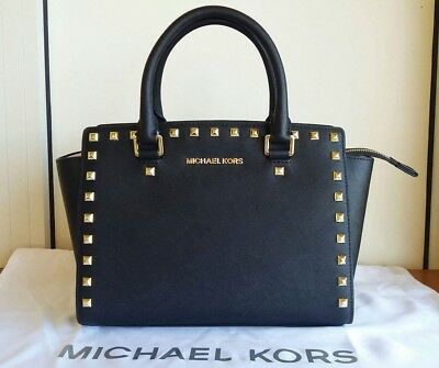 Michael Kors borsa Selma media nera con borchie oro | eBay