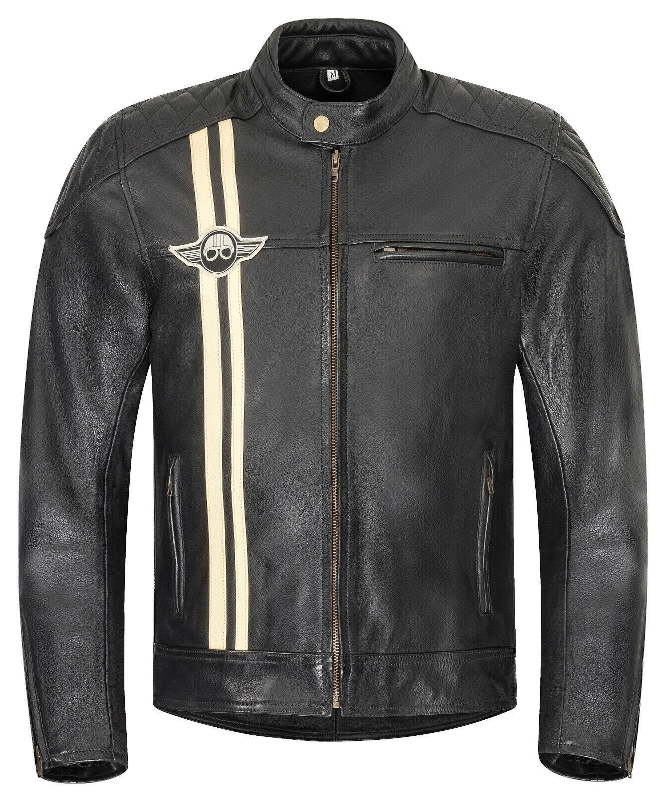 3XL XLS Motorradjacke Herren Klassik Motorrad Lederjacke Retro Bikerjacke Vintage Grau