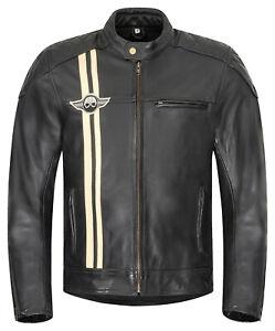 Herren-Motorradjacke-XLS-Classic-Stripes-Motorrad-Lederjacke-Retro-schwarz