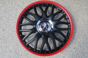 4 Alu-Design Radkappen 16 Zoll Orden black roter Rand  für Peugeot