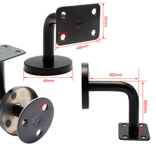 10pcs Black Stainless Steel Handrail Stair Wall Mount Hand Rail Bracket Bannist