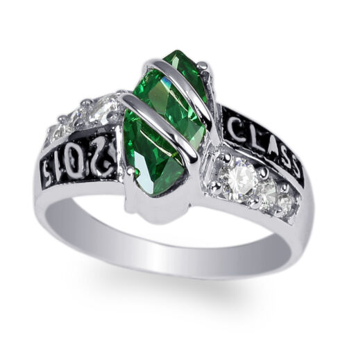 JamesJenny White Gold Plated Emerald Marquise 2015 Graduation Ring Size 4-10
