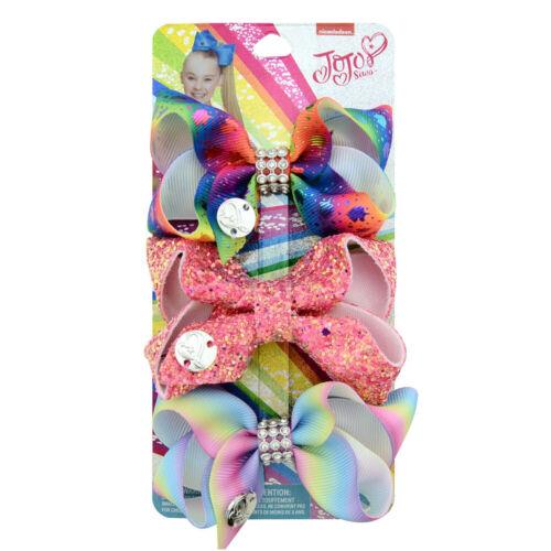 3 PCS//Set JOJO SIWA Girls Baby Bow Sequins Unicorn Printed Ribbon Bow Hair Clip