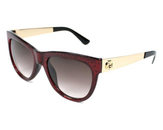 31549f0d09 Gucci Cat Eye Women Sunglasses GG 3739 n s Burgundy Red Glitter Gold ...