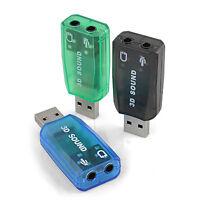 USB mic headphone Jack Stereo Headset 3D Sound Card Audio Adapter  New