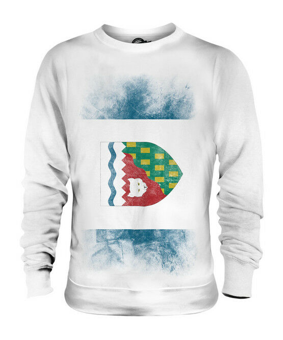 NORTHWEST TERRITORIES FADED FLAG UNISEX SWEATER TOP GIFT SHIRT CLOTHING