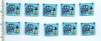 Lego X 10 Trans-light Blue Glass For Window 1 X 4 X 3 Opening With Map, Minifig