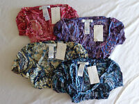 Women's Lizwear Blouse Printed Crinkle Top Short Sleeve Multi Sizes & Colors
